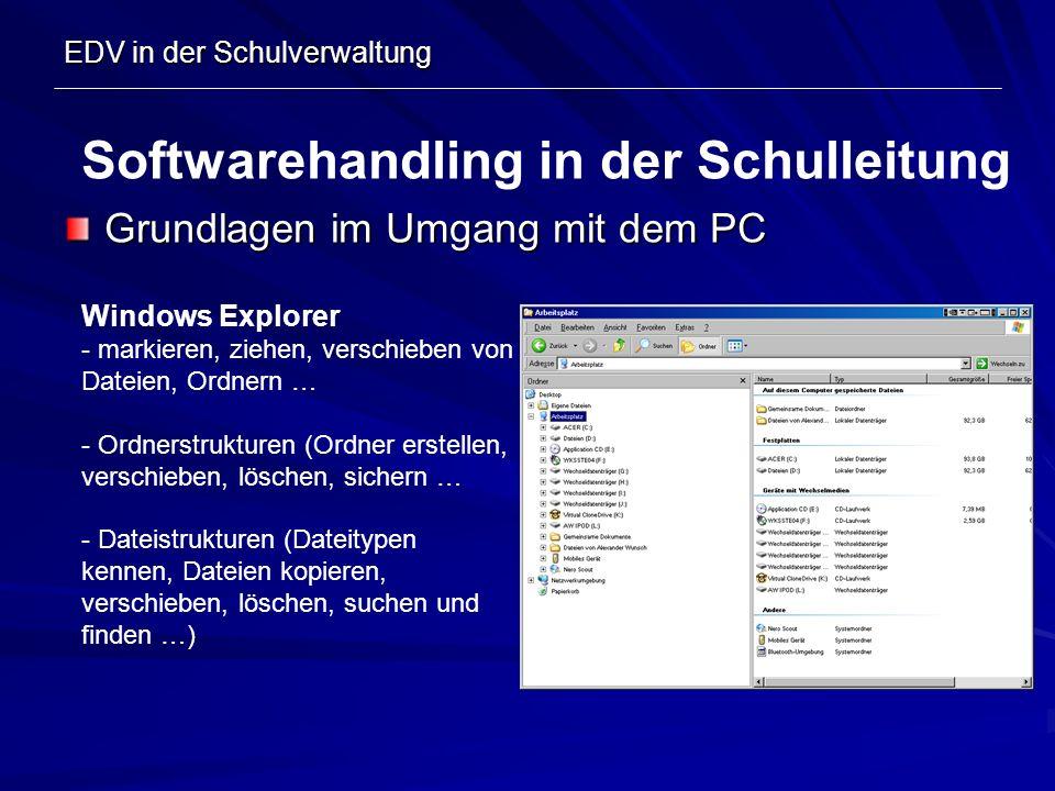EDV in der Schulverwaltung Grundlagen im Umgang mit dem PC Softwarehandling in der Schulleitung Windows Explorer - markieren, ziehen, verschieben von