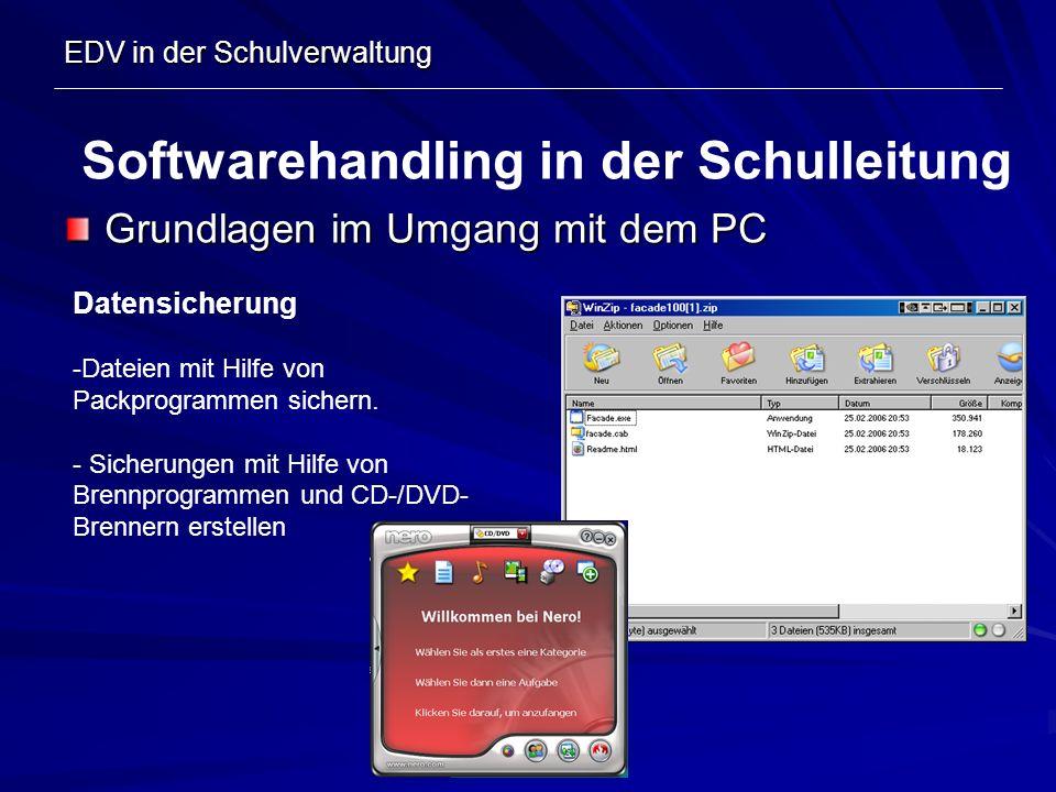 EDV in der Schulverwaltung Grundlagen im Umgang mit dem PC Softwarehandling in der Schulleitung Datensicherung -Dateien mit Hilfe von Packprogrammen s