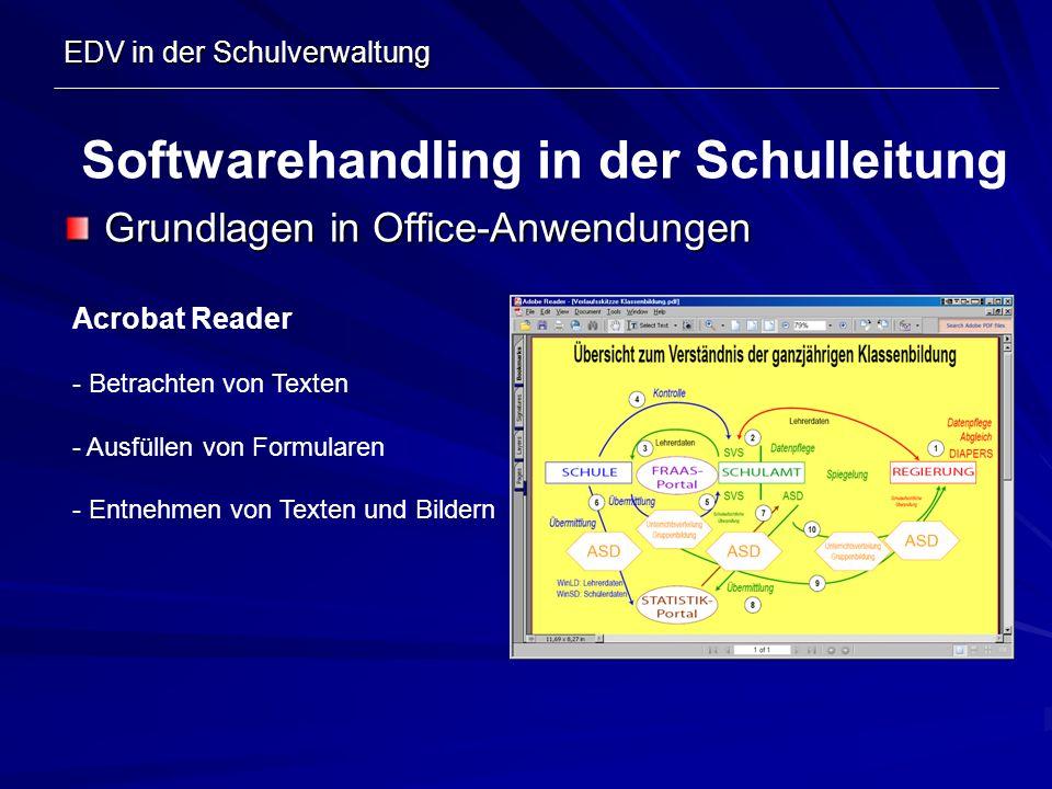 EDV in der Schulverwaltung Grundlagen in Office-Anwendungen Softwarehandling in der Schulleitung Acrobat Reader - Betrachten von Texten - Ausfüllen vo