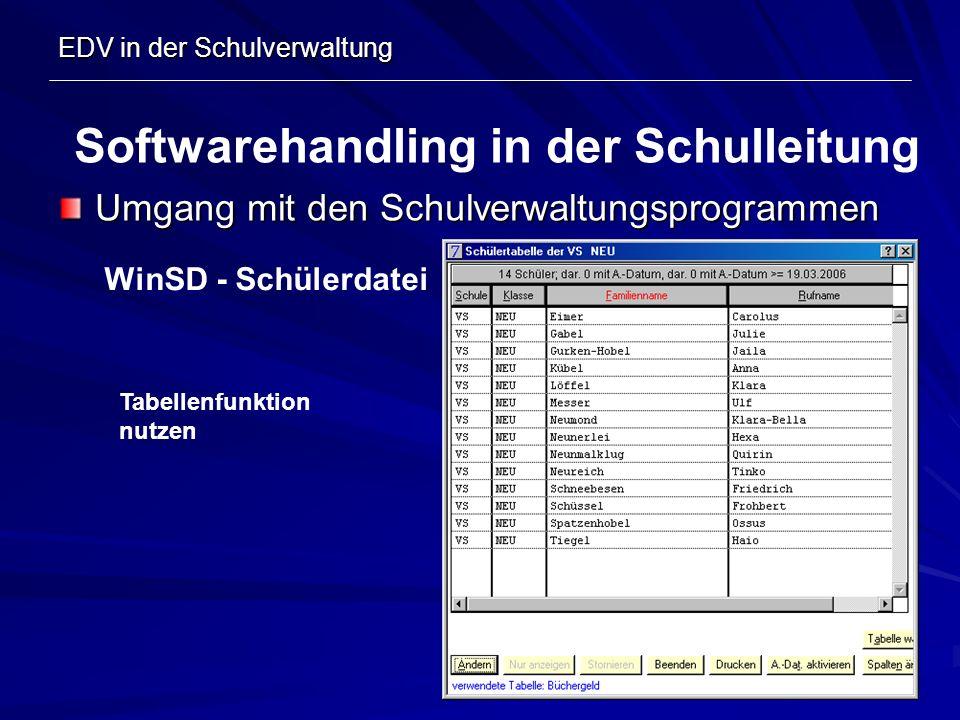 EDV in der Schulverwaltung Umgang mit den Schulverwaltungsprogrammen Softwarehandling in der Schulleitung WinSD - Schülerdatei Tabellenfunktion nutzen