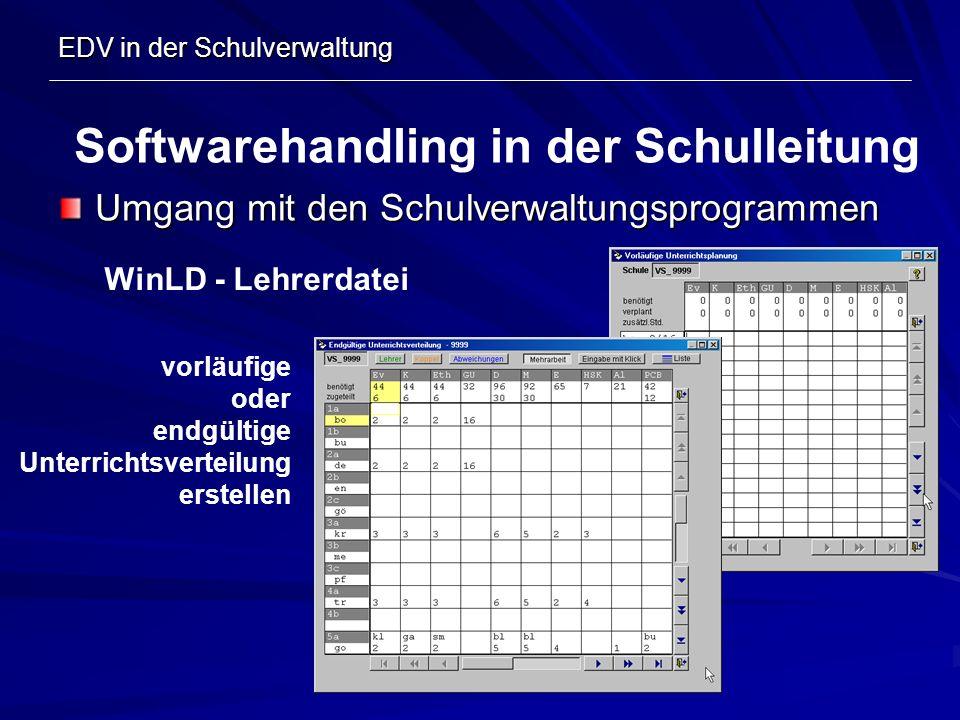 EDV in der Schulverwaltung Umgang mit den Schulverwaltungsprogrammen Softwarehandling in der Schulleitung WinLD - Lehrerdatei vorläufige oder endgülti