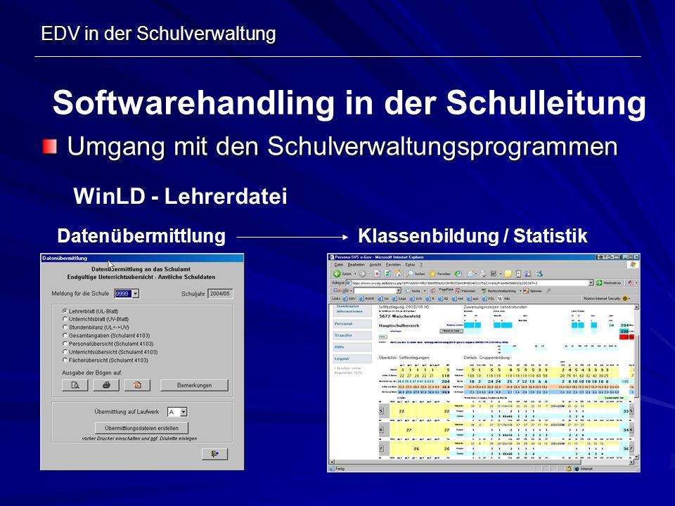 EDV in der Schulverwaltung Umgang mit den Schulverwaltungsprogrammen Softwarehandling in der Schulleitung WinLD - Lehrerdatei DatenübermittlungKlassen