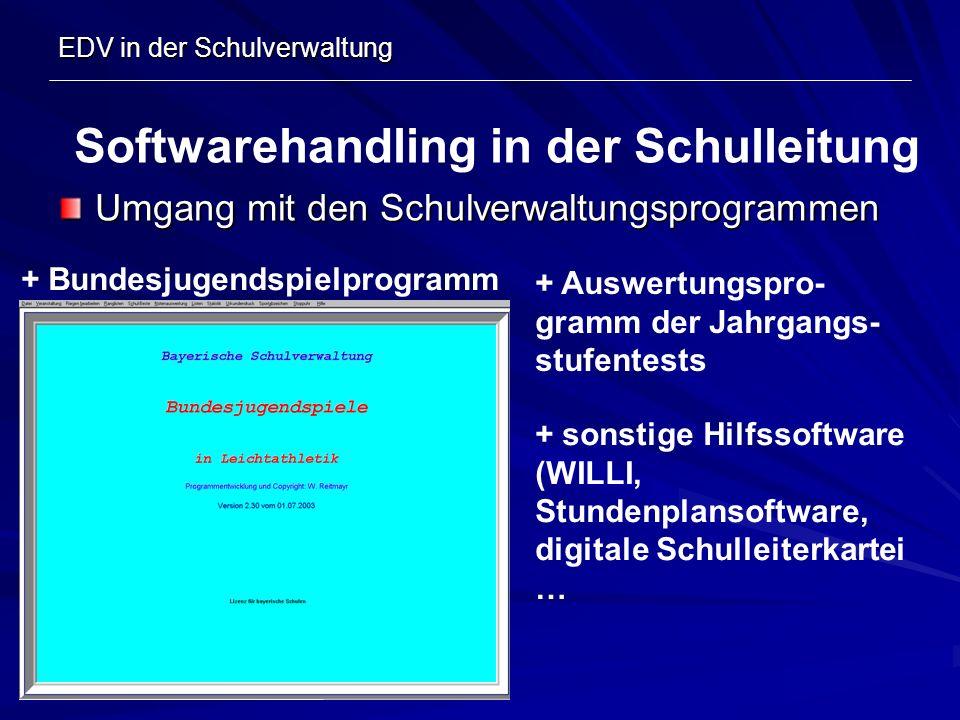 EDV in der Schulverwaltung Umgang mit den Schulverwaltungsprogrammen Softwarehandling in der Schulleitung + Bundesjugendspielprogramm + Auswertungspro