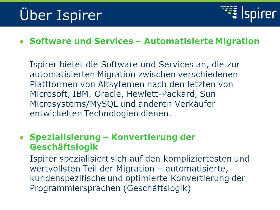 Über Ispirer Software und Services – Automatisierte Migration Ispirer bietet die Software und Services an, die zur automatisierten Migration zwischen verschiedenen Plattformen von Altsytemen nach den letzten von Microsoft, IBM, Oracle, Hewlett-Packard, Sun Microsystems/MySQL und anderen Verkäufer entwickelten Technologien dienen.