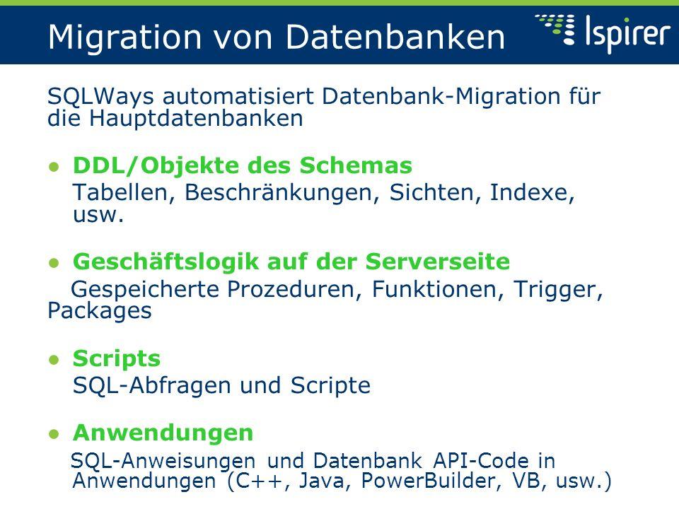Anwendungskonvertierung SQLWays automatisiert Migration von Anwendungen Geschäftslogik Funktionale Algorithmen der Anwendungen Code von Datenbankzugriffscode Anweisungen von Datenbankzugriff und API Benutzeroberfläche Formen, Menus, Kommandos, usw.