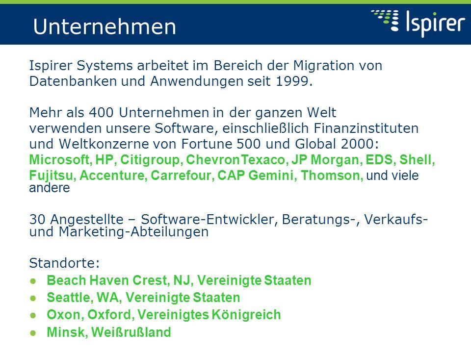 Unternehmen Ispirer Systems arbeitet im Bereich der Migration von Datenbanken und Anwendungen seit 1999. Mehr als 400 Unternehmen in der ganzen Welt v