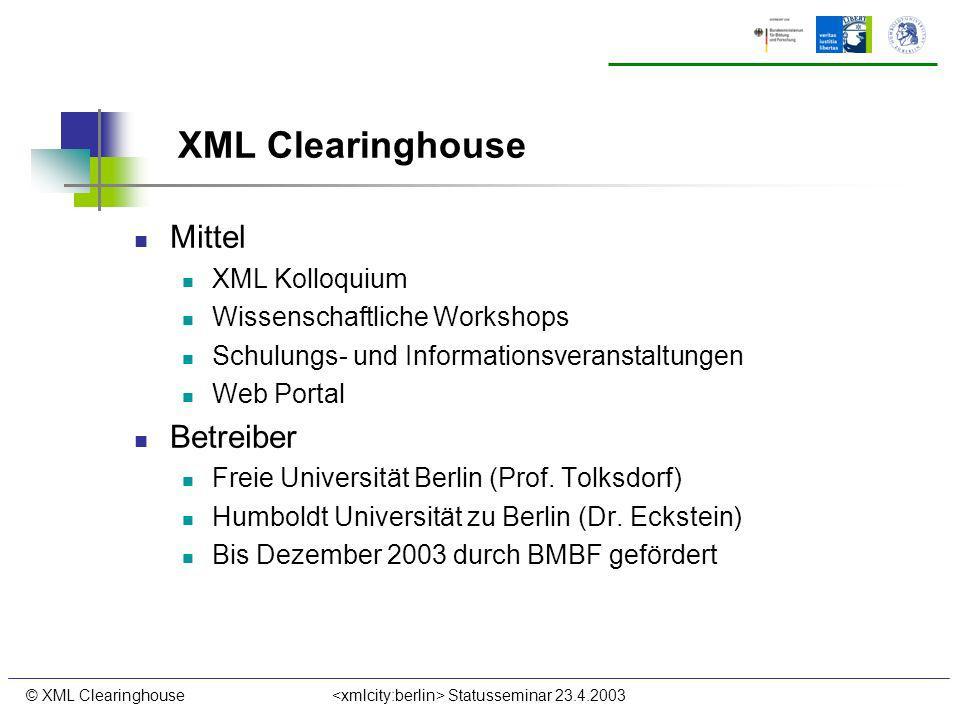 © XML Clearinghouse Statusseminar 23.4.2003 XML Clearinghouse Mittel XML Kolloquium Wissenschaftliche Workshops Schulungs- und Informationsveranstaltu