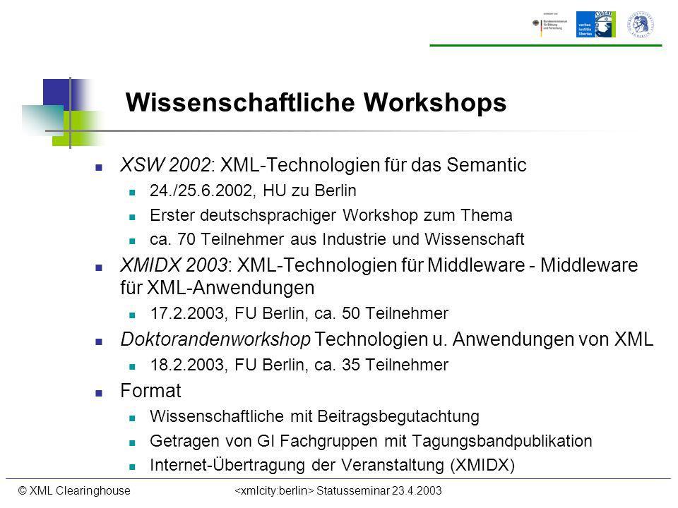 © XML Clearinghouse Statusseminar 23.4.2003 Wissenschaftliche Workshops XSW 2002: XML-Technologien für das Semantic 24./25.6.2002, HU zu Berlin Erster