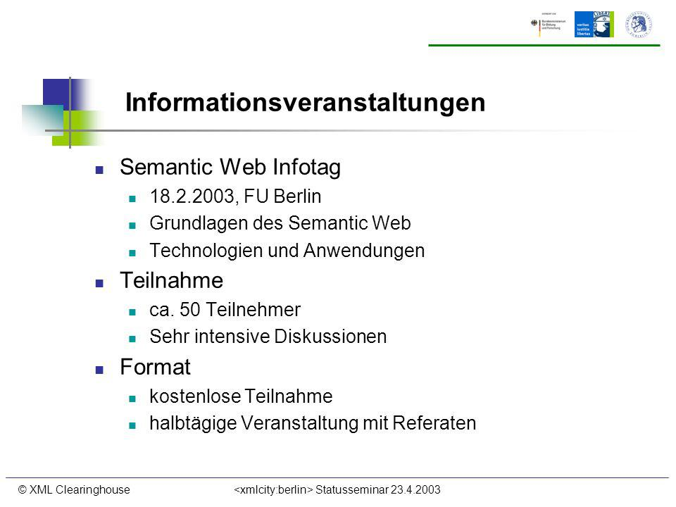 © XML Clearinghouse Statusseminar 23.4.2003 Informationsveranstaltungen Semantic Web Infotag 18.2.2003, FU Berlin Grundlagen des Semantic Web Technolo