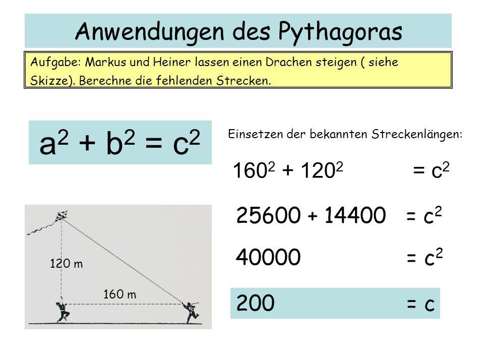 Anwendungen des Pythagoras 160 m 120 m Aufgabe: Markus und Heiner lassen einen Drachen steigen ( siehe Skizze). Berechne die fehlenden Strecken. a 2 +