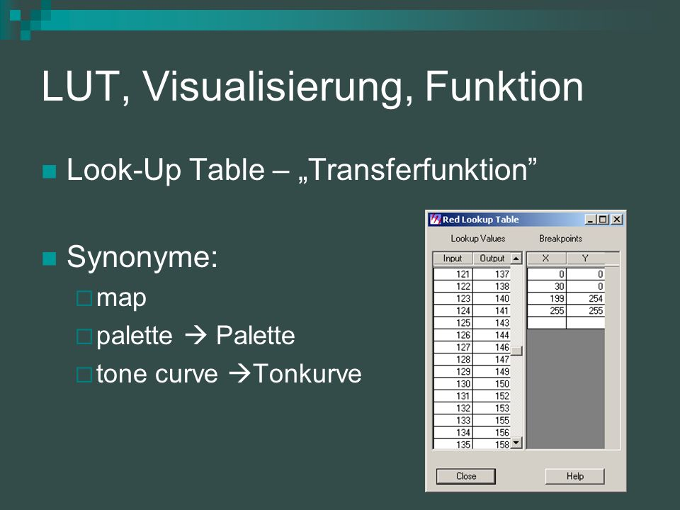 LUT, Visualisierung, Funktion Look-Up Table – Transferfunktion Synonyme: map palette Palette tone curve Tonkurve