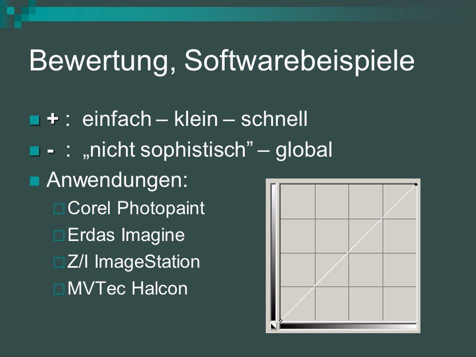 Bewertung, Softwarebeispiele + + : einfach – klein – schnell - - : nicht sophistisch – global Anwendungen: Corel Photopaint Erdas Imagine Z/I ImageStation MVTec Halcon