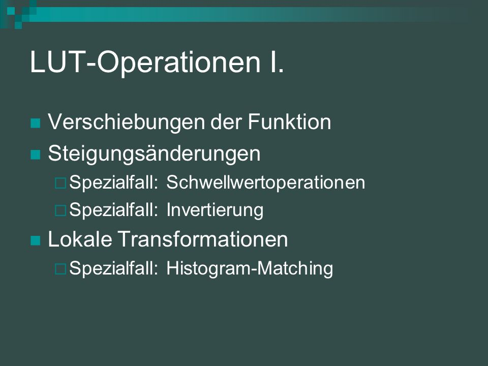 LUT-Operationen II.