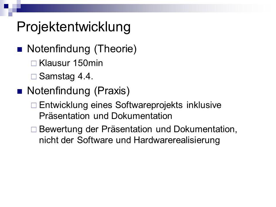 Projektentwicklung Notenfindung (Theorie) Klausur 150min Samstag 4.4. Notenfindung (Praxis) Entwicklung eines Softwareprojekts inklusive Präsentation