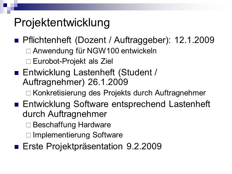 Projektentwicklung Pflichtenheft (Dozent / Auftraggeber): 12.1.2009 Anwendung für NGW100 entwickeln Eurobot-Projekt als Ziel Entwicklung Lastenheft (S