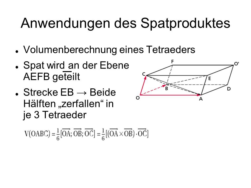 Anwendungen des Spatproduktes Volumenberechnung eines Tetraeders Spat wird an der Ebene AEFB geteilt Strecke EB Beide Hälften zerfallen in je 3 Tetrae