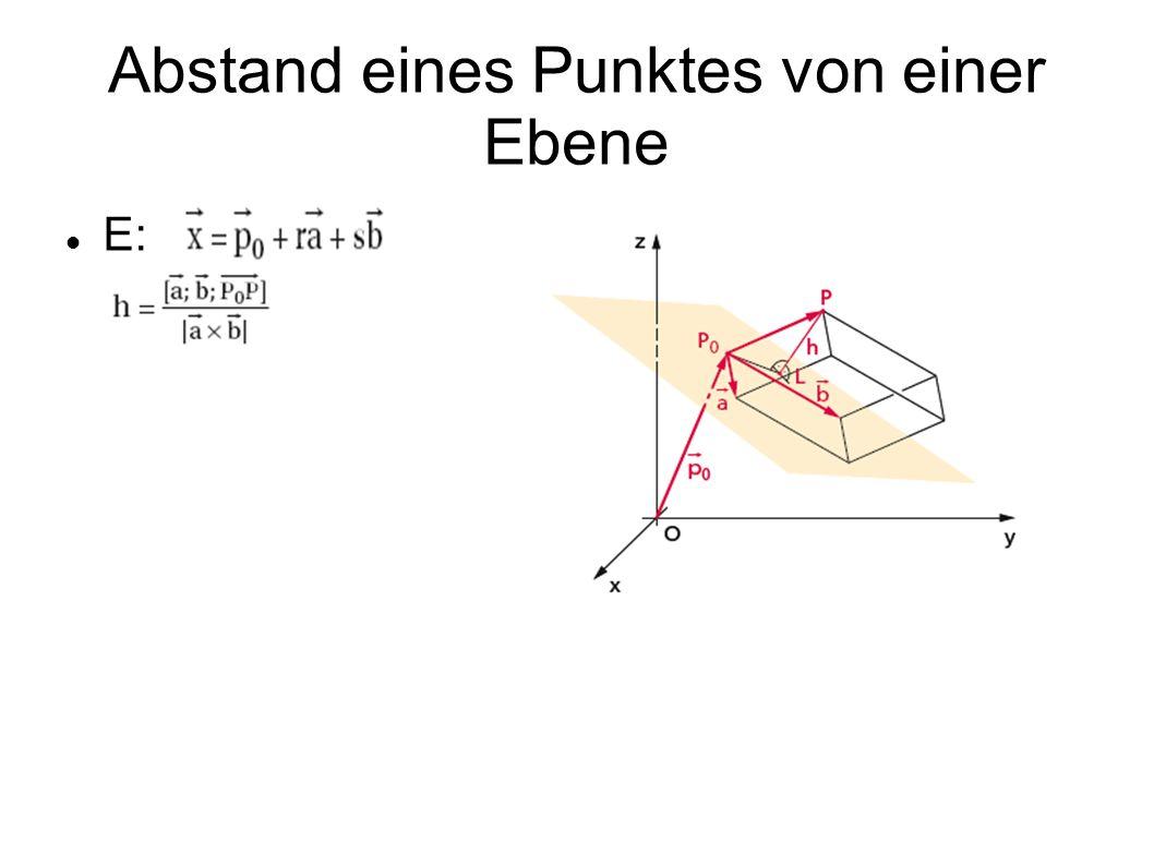 Abstand eines Punktes von einer Ebene E: