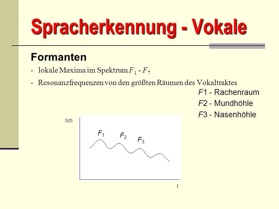 Spracherkennung - Vokale Formanten - lokale Maxima im Spektrum F 1 - F 7 - Resonanzfrequenzen von den größten Räumen des Vokaltraktes - F1 - Rachenrau