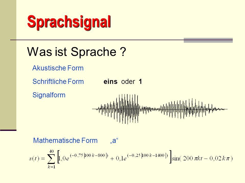 Sprachsignal Was ist Sprache ? Mathematische Form a Akustische Form Schriftliche Form Signalform eins oder 1