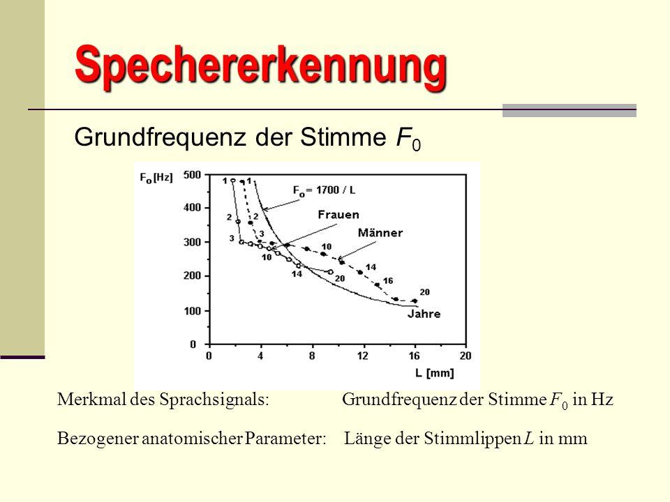 Spechererkennung Grundfrequenz der Stimme F 0 Merkmal des Sprachsignals: Grundfrequenz der Stimme F 0 in Hz Bezogener anatomischer Parameter: Länge de