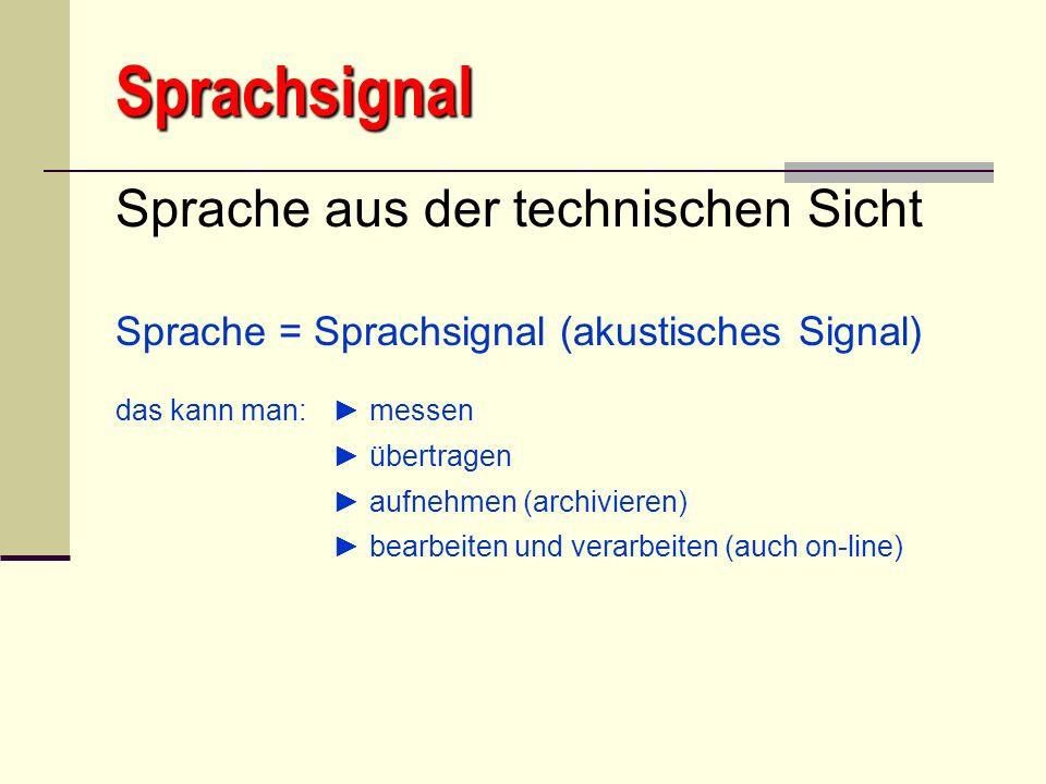 Sprachsignal Sprache aus der technischen Sicht Sprache = Sprachsignal (akustisches Signal) das kann man: messen übertragen aufnehmen (archivieren) bea