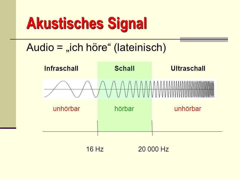 Akustisches Signal Audio = ich höre (lateinisch) Infraschall Schall Ultraschall unhörbar hörbar unhörbar 16 Hz 20 000 Hz