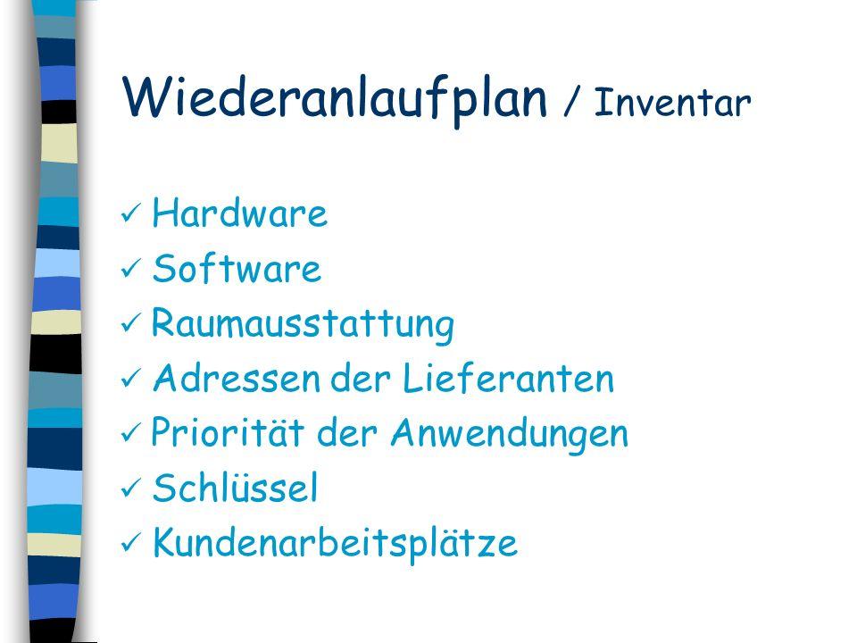 Wiederanlaufplan / Inventar Hardware Software Raumausstattung Adressen der Lieferanten Priorität der Anwendungen Schlüssel Kundenarbeitsplätze