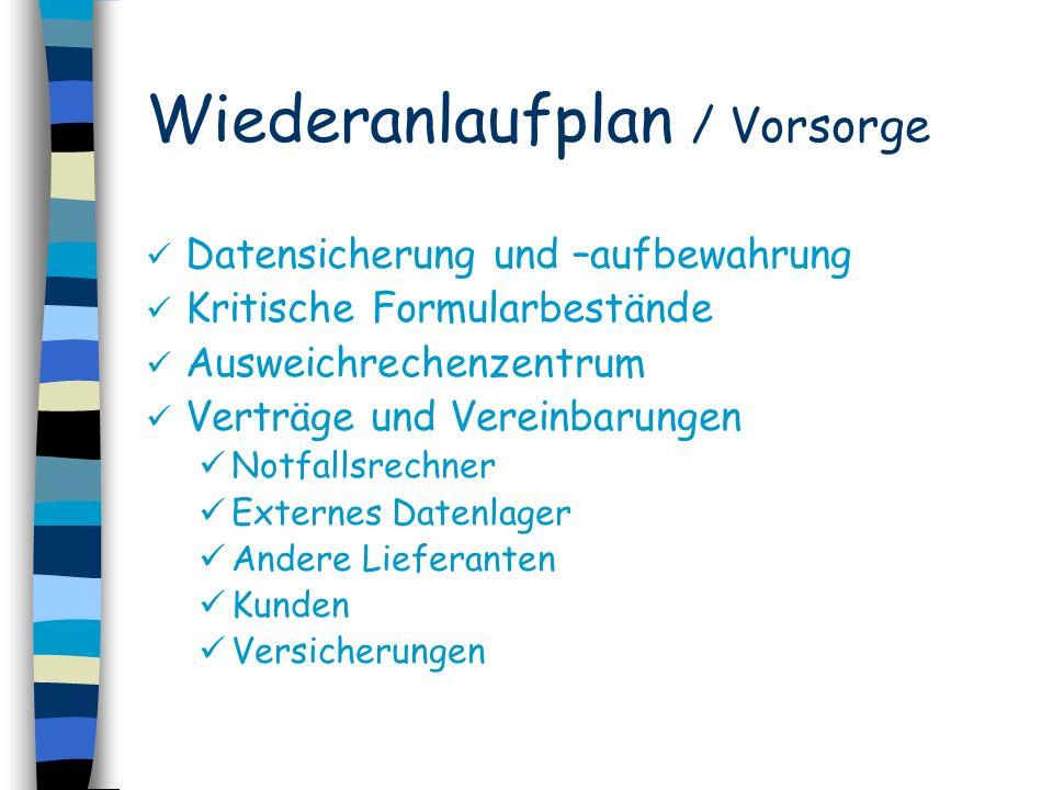 Wiederanlaufplan / Vorsorge Datensicherung und –aufbewahrung Kritische Formularbestände Ausweichrechenzentrum Verträge und Vereinbarungen Notfallsrech