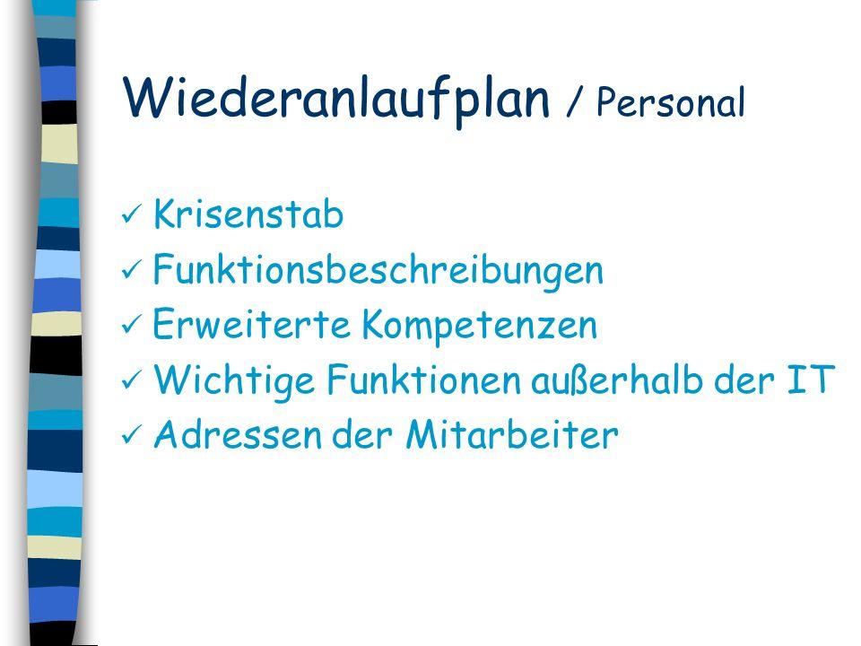 Wiederanlaufplan / Personal Krisenstab Funktionsbeschreibungen Erweiterte Kompetenzen Wichtige Funktionen außerhalb der IT Adressen der Mitarbeiter