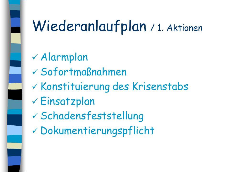 Wiederanlaufplan / 1. Aktionen Alarmplan Sofortmaßnahmen Konstituierung des Krisenstabs Einsatzplan Schadensfeststellung Dokumentierungspflicht