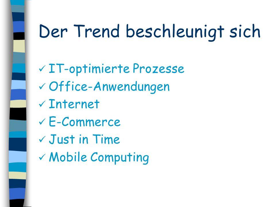Der Trend beschleunigt sich IT-optimierte Prozesse Office-Anwendungen Internet E-Commerce Just in Time Mobile Computing