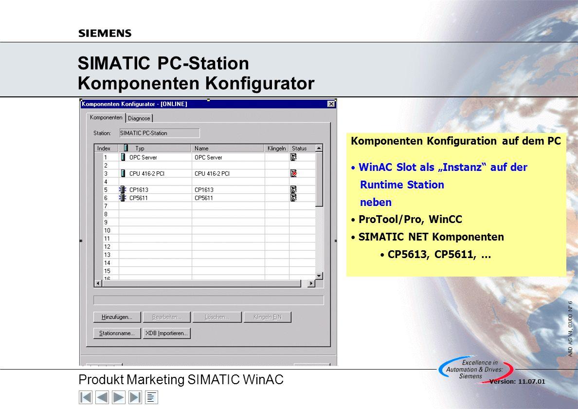 Produkt Marketing SIMATIC WinAC A&D AS V4, 03/00 N° 7 Version: 11.07.01 WinAC Slot 41x, V3.2 Komponenten WinAC Slot 41x, V3.1 WinAC Slot 41x, V3.2 Hardware CPU 412-2 PCI; 6ES7612-2QH00-0AB4 CPU 416-2 PCI; 6ES7616-2QL00-0AB4 Hardware CPU 412-2 PCI; 6ES7612-2QH00-0AB4 CPU 416-2 PCI; 6ES7616-2QL00-0AB4 Firmware CPU 412-2 PCI; FW 1.1 CPU 416-2 PCI; FW 1.1 Firmware CPU 412-2 PCI; FW 3.0 CPU 416-2 PCI; FW 3.0 Software (CD) WinAC Slot 41x, V3.1 Software (CD) WinAC Slot 41x, V3.2 (CD) SIMATIC Net 05/00 SIMATIC Net 07/01 STEP 7, V5.1 STEP 7, V5.1, SP 2 Keine Änderung .