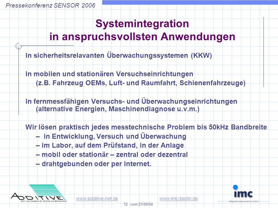 www.additive-net.dewww.imc-berlin.de 12 vom 21/09/04 Pressekonferenz SENSOR 2006 Systemintegration in anspruchsvollsten Anwendungen In sicherheitsrelavanten Überwachungssystemen (KKW) In mobilen und stationären Versuchseinrichtungen (z.B.