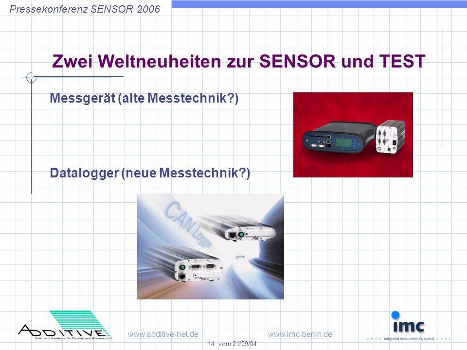 www.additive-net.dewww.imc-berlin.de 14 vom 21/09/04 Pressekonferenz SENSOR 2006 Zwei Weltneuheiten zur SENSOR und TEST Messgerät (alte Messtechnik ) Datalogger (neue Messtechnik )