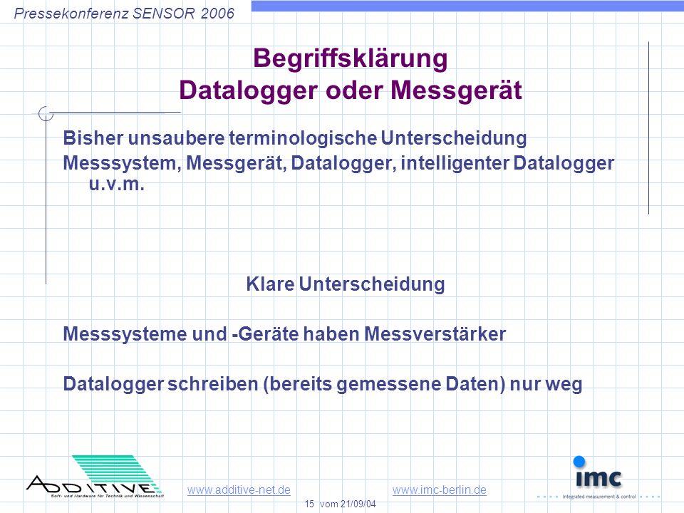 www.additive-net.dewww.imc-berlin.de 15 vom 21/09/04 Pressekonferenz SENSOR 2006 Begriffsklärung Datalogger oder Messgerät Bisher unsaubere terminologische Unterscheidung Messsystem, Messgerät, Datalogger, intelligenter Datalogger u.v.m.