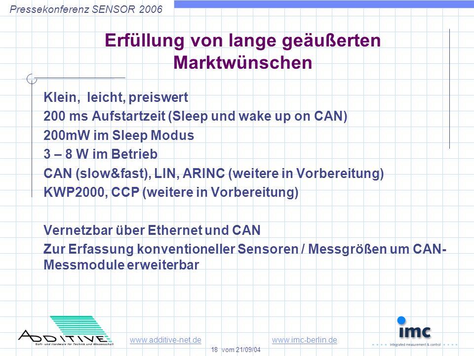 www.additive-net.dewww.imc-berlin.de 18 vom 21/09/04 Pressekonferenz SENSOR 2006 Erfüllung von lange geäußerten Marktwünschen Klein, leicht, preiswert 200 ms Aufstartzeit (Sleep und wake up on CAN) 200mW im Sleep Modus 3 – 8 W im Betrieb CAN (slow&fast), LIN, ARINC (weitere in Vorbereitung) KWP2000, CCP (weitere in Vorbereitung) Vernetzbar über Ethernet und CAN Zur Erfassung konventioneller Sensoren / Messgrößen um CAN- Messmodule erweiterbar