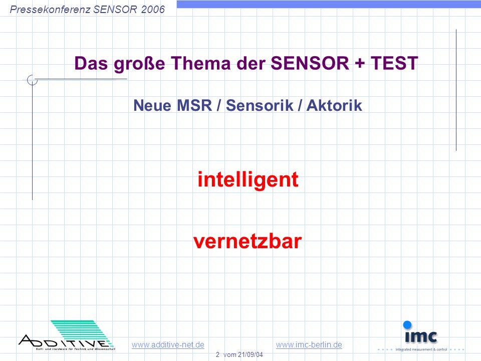 www.additive-net.dewww.imc-berlin.de 2 vom 21/09/04 Pressekonferenz SENSOR 2006 Das große Thema der SENSOR + TEST Neue MSR / Sensorik / Aktorik intelligent vernetzbar