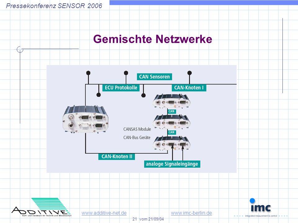 www.additive-net.dewww.imc-berlin.de 21 vom 21/09/04 Pressekonferenz SENSOR 2006 Gemischte Netzwerke