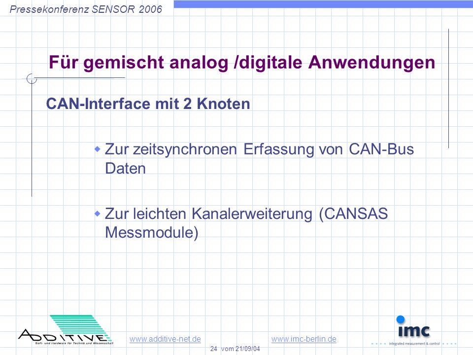 www.additive-net.dewww.imc-berlin.de 24 vom 21/09/04 Pressekonferenz SENSOR 2006 Für gemischt analog /digitale Anwendungen CAN-Interface mit 2 Knoten Zur zeitsynchronen Erfassung von CAN-Bus Daten Zur leichten Kanalerweiterung (CANSAS Messmodule)