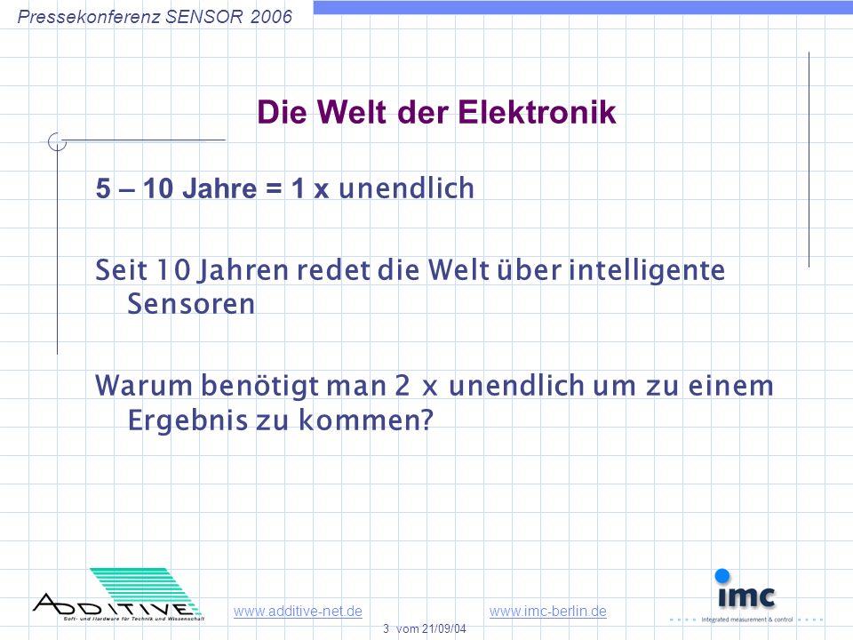 www.additive-net.dewww.imc-berlin.de 3 vom 21/09/04 Pressekonferenz SENSOR 2006 Die Welt der Elektronik 5 – 10 Jahre = 1 x unendlich Seit 10 Jahren redet die Welt über intelligente Sensoren Warum benötigt man 2 x unendlich um zu einem Ergebnis zu kommen