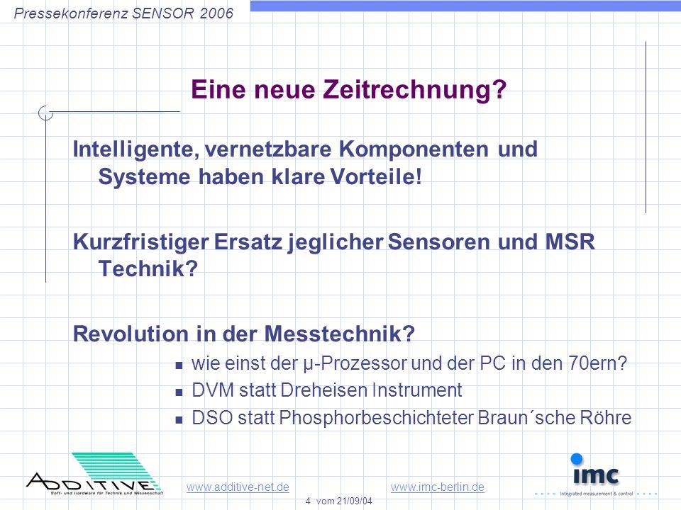 www.additive-net.dewww.imc-berlin.de 4 vom 21/09/04 Pressekonferenz SENSOR 2006 Eine neue Zeitrechnung.