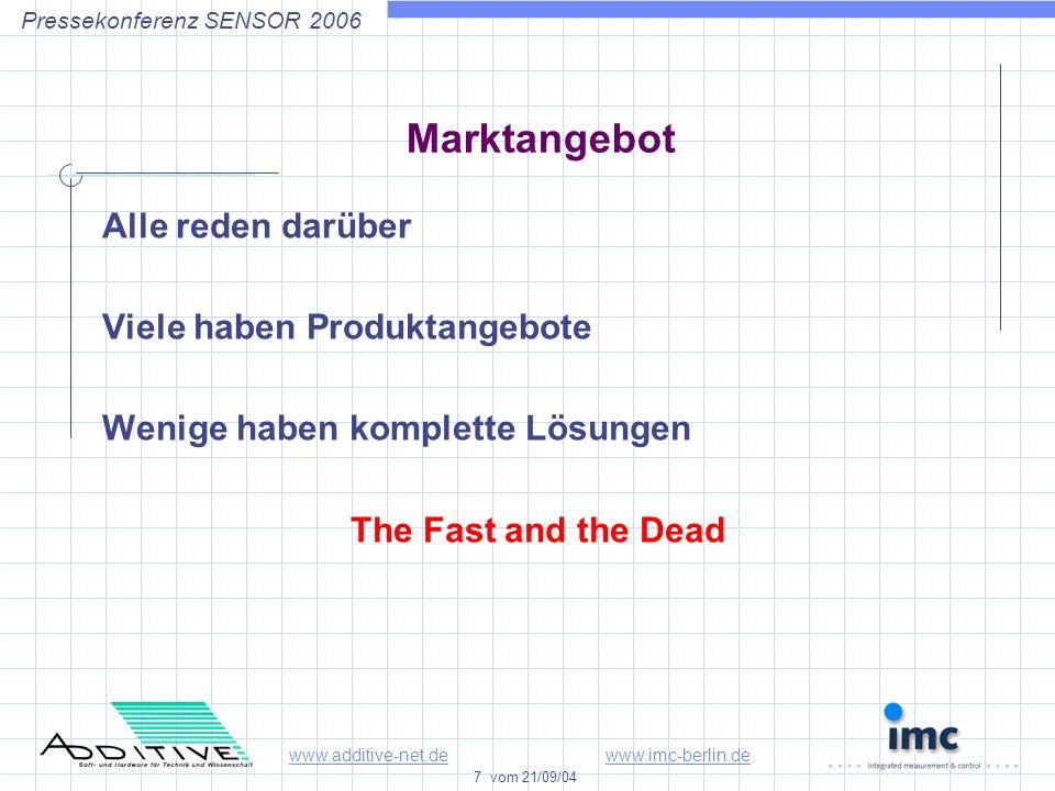 www.additive-net.dewww.imc-berlin.de 7 vom 21/09/04 Pressekonferenz SENSOR 2006 Marktangebot Alle reden darüber Viele haben Produktangebote Wenige haben komplette Lösungen The Fast and the Dead