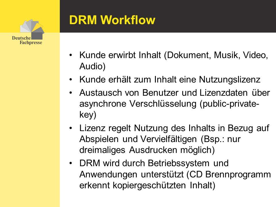 DRM Workflow Kunde erwirbt Inhalt (Dokument, Musik, Video, Audio) Kunde erhält zum Inhalt eine Nutzungslizenz Austausch von Benutzer und Lizenzdaten ü