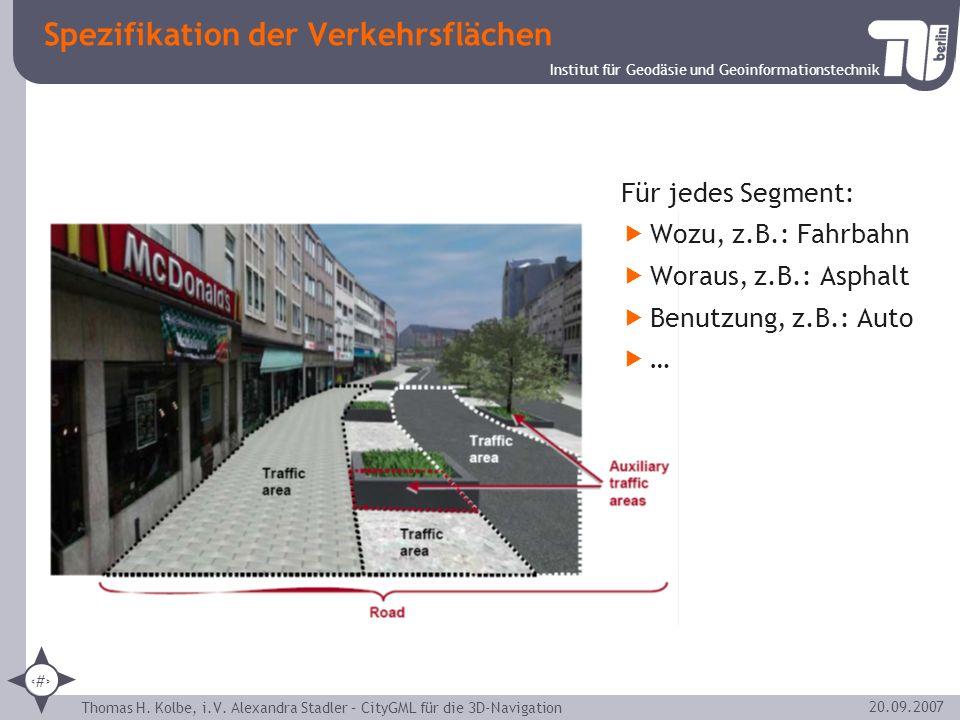 Institut für Geodäsie und Geoinformationstechnik Thomas H. Kolbe, i.V. Alexandra Stadler – CityGML für die 3D-Navigation 12 20.09.2007 Spezifikation d
