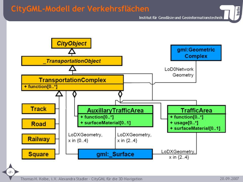 Institut für Geodäsie und Geoinformationstechnik Thomas H. Kolbe, i.V. Alexandra Stadler – CityGML für die 3D-Navigation 13 20.09.2007 CityGML-Modell