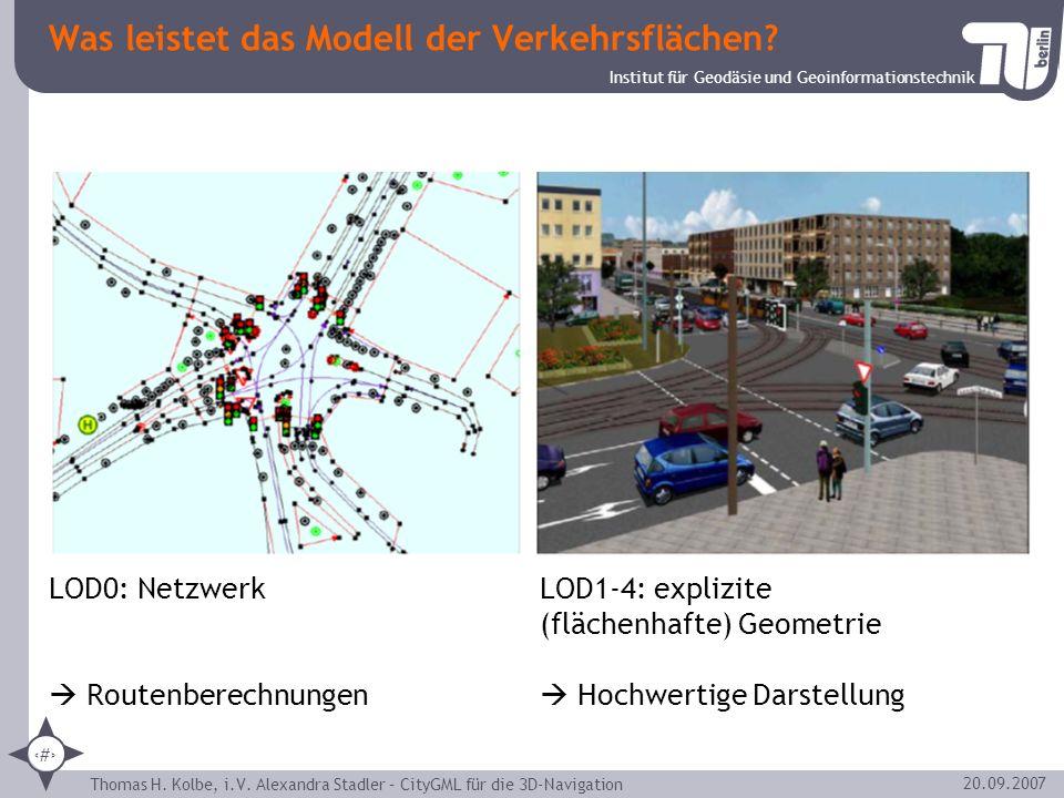 Institut für Geodäsie und Geoinformationstechnik Thomas H. Kolbe, i.V. Alexandra Stadler – CityGML für die 3D-Navigation 14 20.09.2007 Was leistet das