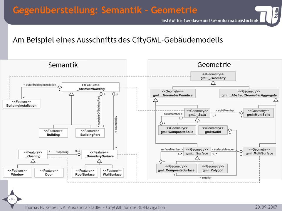 Institut für Geodäsie und Geoinformationstechnik Thomas H. Kolbe, i.V. Alexandra Stadler – CityGML für die 3D-Navigation 6 20.09.2007 Gegenüberstellun