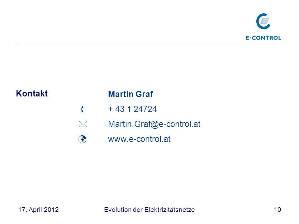 Evolution der Elektrizitätsnetze1017. April 2012 Martin Graf + 43 1 24724 Martin.Graf@e-control.at www.e-control.at Kontakt