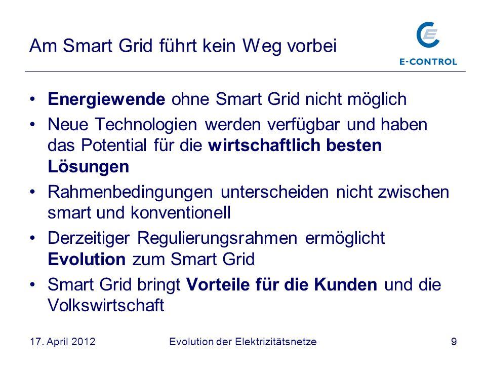 Evolution der Elektrizitätsnetze917. April 2012 Am Smart Grid führt kein Weg vorbei Energiewende ohne Smart Grid nicht möglich Neue Technologien werde