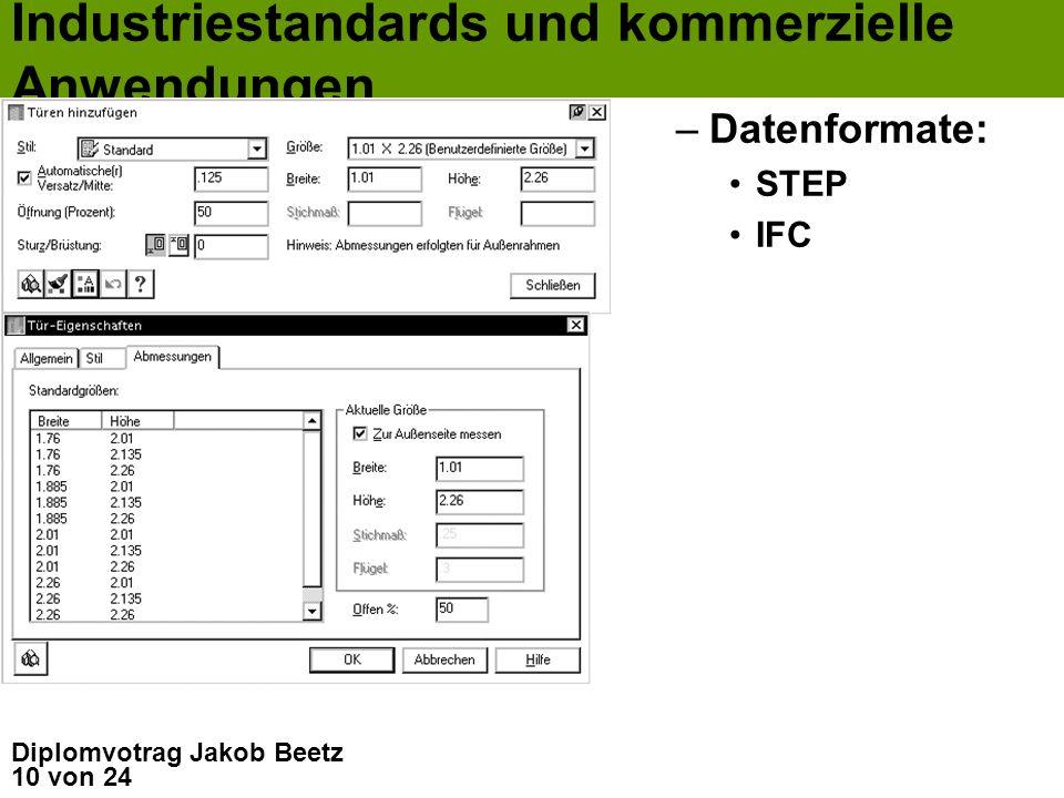 10 von 24 Diplomvotrag Jakob Beetz Industriestandards und kommerzielle Anwendungen –Datenformate: STEP IFC
